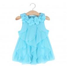 Cute Flower Turn Down Collar Sleeveless Mesh Pure Color Baby Girls Dress