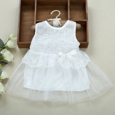 Sweet Round Neck Sleeveless Solid Color Lace Gauze Baby Girls Dress