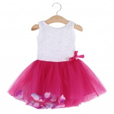 Cute Round Collar Sleeveless Colorful Petals Baby Girls Gauze Vest Dress