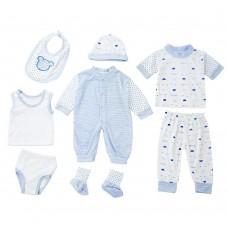 8pcs Han Edition Stylish Cotton Stripe Dot Newborn Babies Clothes Set