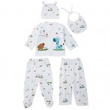 5pcs Sweet Collarless Long Sleeve Animal Print Cotton Underwear Cap Bib for Newborn Babies