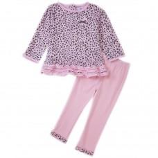 Stylish Round Neck Long Sleeve Cotton Leopard Pattern Baby Girls Twinset