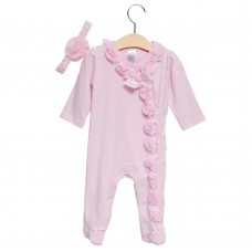 2pcs Sweet V-Neck Long Sleeve Pure Color Flower Bowknot Decorated Babies Romper with Headband