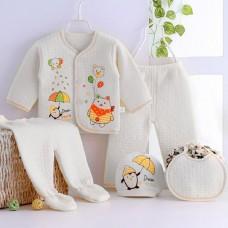 5pcs Cute Cartoon Pattern Comfortable Clothing Set for Newborn Babies