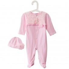 2pcs Sweet Jewel Collar Long Sleeve Gauze Flower Decorated Newborn Babies Jumpsuit with Hat