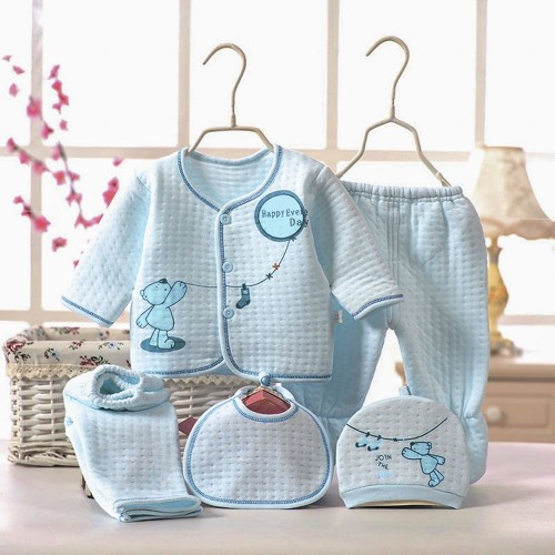 5pcs Cartoon Print Cotton Clothing Set for Newborn Babies