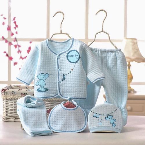 5pcs Cartoon Print Cotton Clothing Set for Newborn Babies