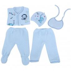 Cute Round Collar Cartoon Pattern Cotton Clothing Set for Newborn Babies