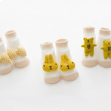 3 Pack Baby Unisex Socks 3D Cotton Anklet Cute Cartoon For 0-1 Infant Toddler Boy Girl Yellow S