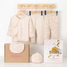 5Pcs Baby Clothes Set Unisex 100% Cotton Baby Suit Long Sleeve Tops & Long Pants & Hat & Bib Gift Set For Baby Girl Boy 6-12M Beige