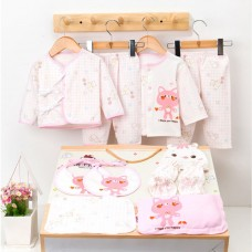 16Pcs Newborn Baby Clothes Set Unisex 100% Cotton Babysuit Long Sleeve Tops & Long Pants Newborn Baby Essentials Gift Set For Baby Girl Boy 0-3M Pink
