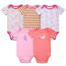 5pcs Baby Rompers Set Bodysuit 100% Cotton Short Sleeve Baby Clothing For Newborn Baby Infant Girl 0-3M