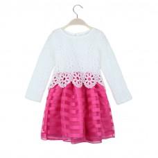 Sweet Kids Princess Crochet Lace Long Sleeve Striped Tulle Children Girls' Tutu Dress
