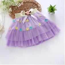 Fashion Girls Tiered Tulle Skirt Elastic Waist Decorative Bow Embroidery Dot Pattern Children Kids Tutu Pettiskirt Pink/Purple/Yellow