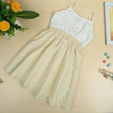 Girls Slip Dress Cotton Sleeveless Spaghetti Strap Elastic Waist Stripe Cute Casual Children Dress White